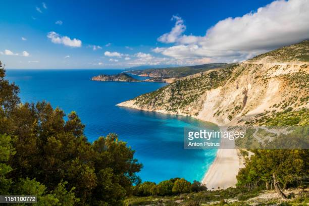 myrtos beach in kefalonia, ionian islands, greece - lagoon stock pictures, royalty-free photos & images