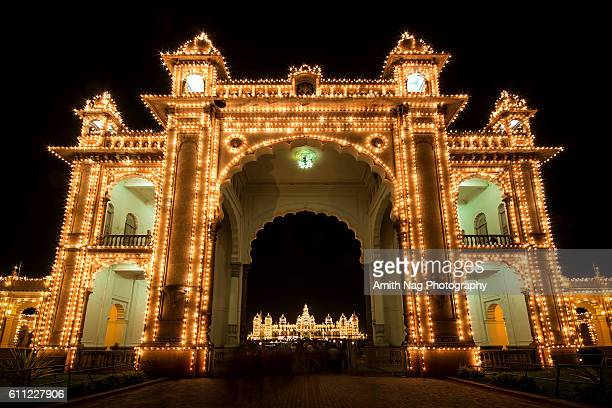 mysore palace and the entrance - monumente stock pictures, royalty-free photos & images