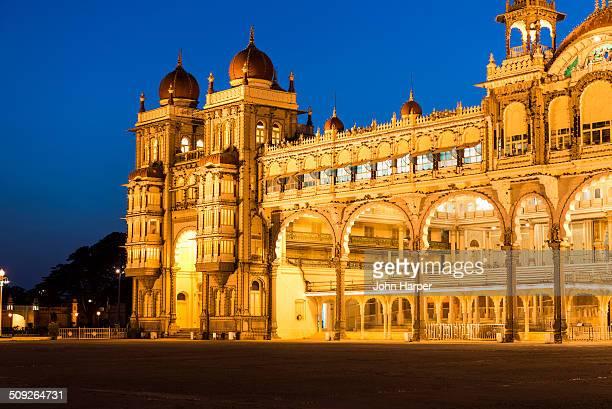 mysore palace at twilight, karnataka, india - palace stock pictures, royalty-free photos & images
