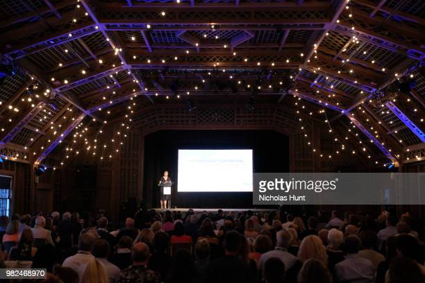 Mystelle Brabbee speaks onstage during the Screenwriters Tribute at the 2018 Nantucket Film Festival Day 4 on June 23 2018 in Nantucket Massachusetts