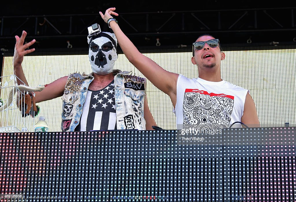 Mysterio performs with SAV of Fight Clvb during Billboard Hot 100 Festival - Day 2 at Nikon at Jones Beach Theater on August 23, 2015 in Wantagh, New York.