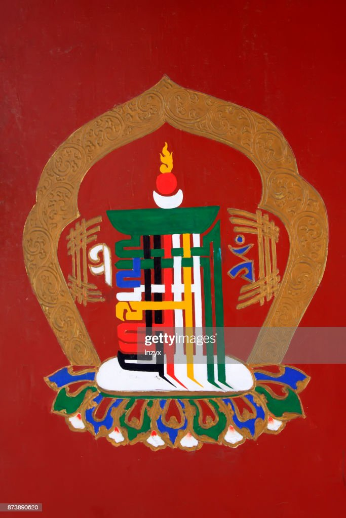 mysterious buddhist patterns and symbols in a temple closeup of