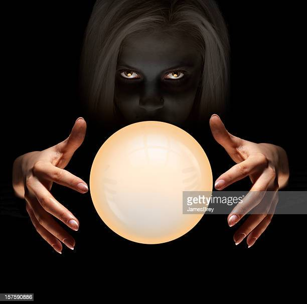 Mysterious Fortune Teller Gazes Into Crystal Ball Seeing The Future