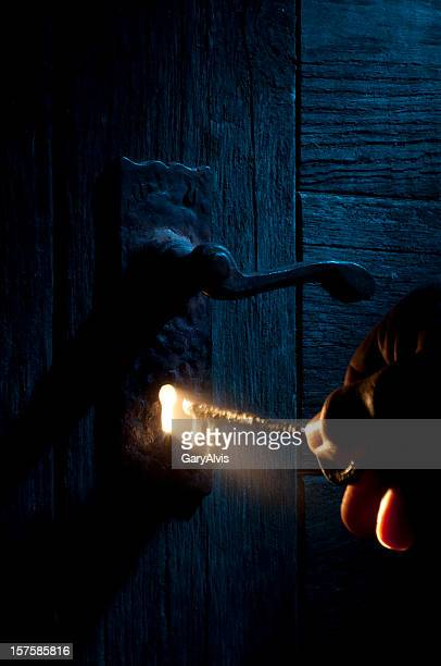 mysterious lock and key-light coming through keyhole - locking stock pictures, royalty-free photos & images