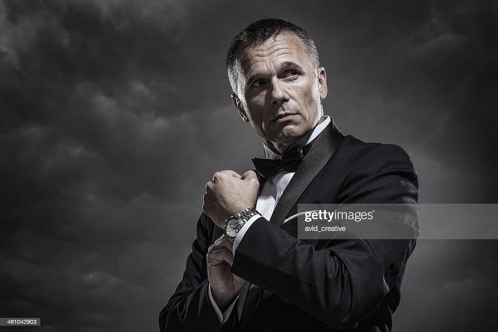 Mysterious Man in Tuxedo : Stock Photo