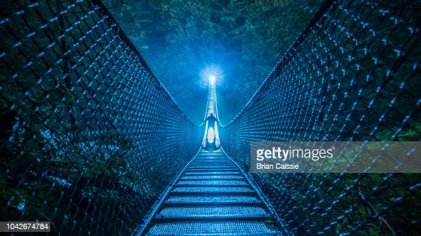 mysterious silhouetted person on suspension bridge in woods at night - curiosity stock photos and pictures