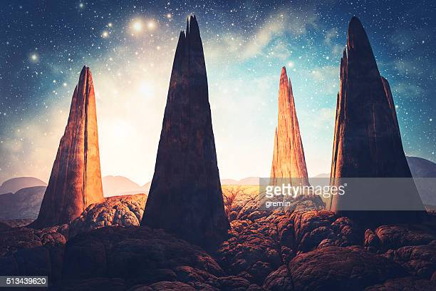 Mysterious stone megaliths in fantasy landscape
