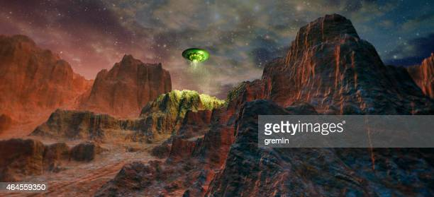 Mysterious UFO landing in rocky mountains
