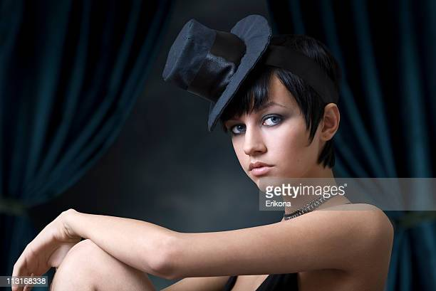 mysterious woman - cabaret stock photos and pictures