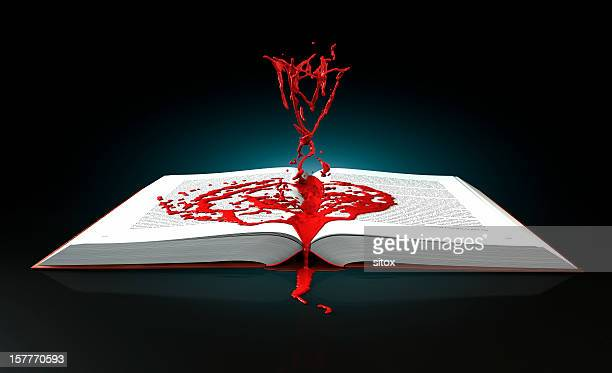 mystery and thriller book concept - blood splatter stock photos and pictures