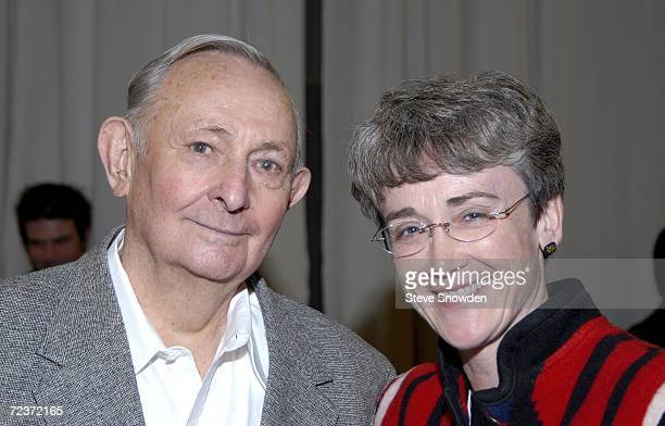 Mystery author Tony Hillerman poses with New Mexico Congresswoman Heather Wilson at a private reception during Weems International Artfest on...
