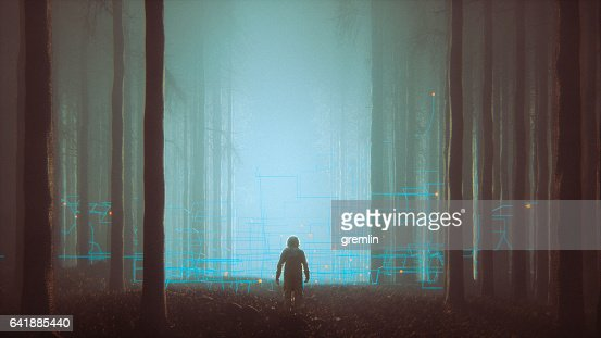 Mystery forest with lost astronaut