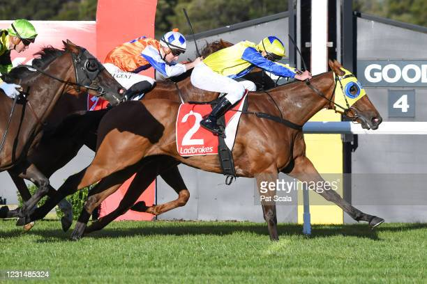 Mystery Shot ridden by Lachlan Neindorf wins the Ladbrokes Odds Boost Handicap at Ladbrokes Park Lakeside Racecourse on March 03, 2021 in Springvale,...