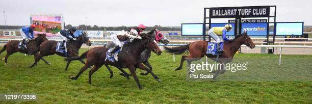Mystery Shot ridden by Michael Rodd wins the Hygain Winners Choice BM64 Handicap at Sportsbet-Ballarat Racecourse on June 14, 2020 in Ballarat,...