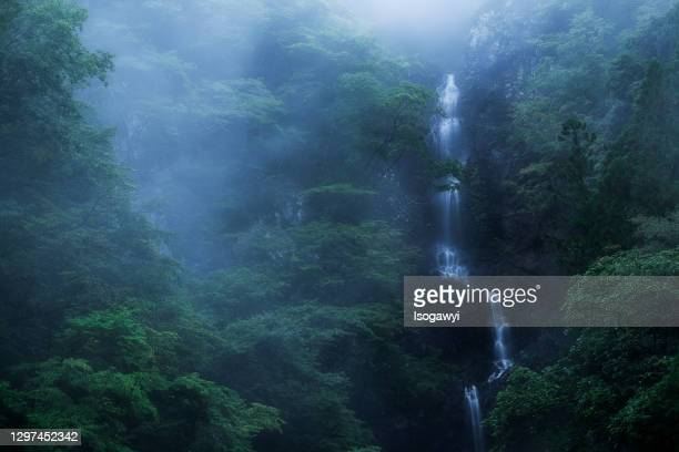 mystic deep mountain waterfalls - isogawyi stock pictures, royalty-free photos & images