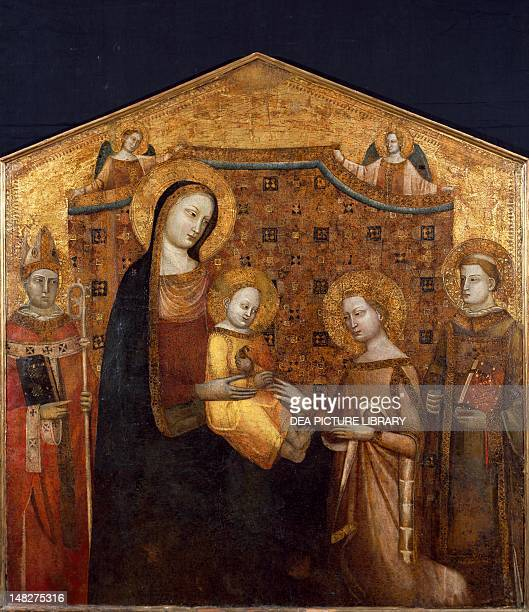 Mystic Marriage of Saint Catherine of Alexandria between St Zenobi and St Leonhard by the Master of the Christ Church Coronation panel Rome Museo Di...