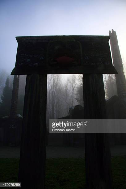mystic village - longhouse stock photos and pictures