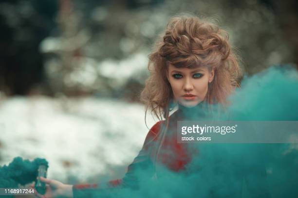 mystical woman - smokey eyeshadow stock pictures, royalty-free photos & images