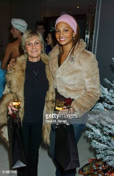 Mystique's Aleesha Dixon poses with her mother Beverley at the Nutcracker Ballet gala preparty at St Martins Lane Hotel December 21 London