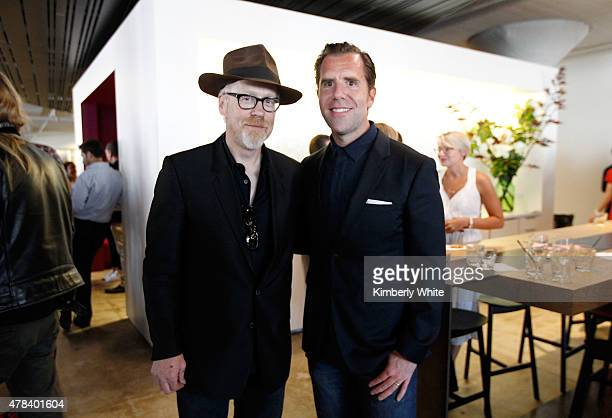 Mythbusters cohost Adam Savage and WIRED Editor in Chief Scott Dadich celebrate the launch of the July Issue at the new WIRED office on June 24 2015...