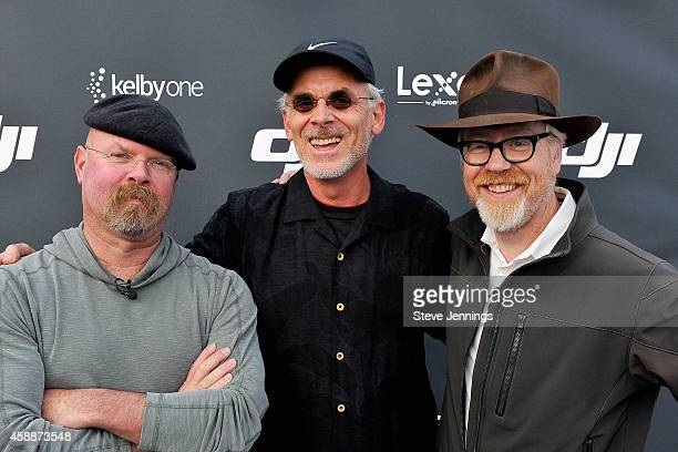 Mythbusters CoHost Jamie Hyneman Adobe Senior Creative Director Russell Brown and Mythbusters CoHost Adam Savage attend the DJI Evolution Inspire...