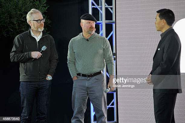Mythbusters CoHosts Adam Savage and Jamie Hyneman and DJI Aerial Director Eric Cheng speak onstage at the DJI Evolution Inspire Launch at Treasure...