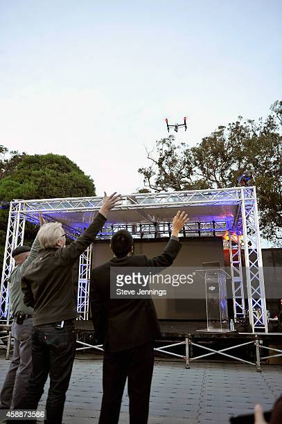 Mythbusters CoHosts Jamie Hyneman and Adam Savage and DJI Aerial Director Eric Cheng attend the DJI Evolution Inspire Launch at Treasure Island on...