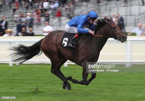 Mythical Magic ridden by Adam Kirby wins The Anders Foundation British EBF Crocker Bulteel Maiden Stakes during day one of King George VI Weekend at...