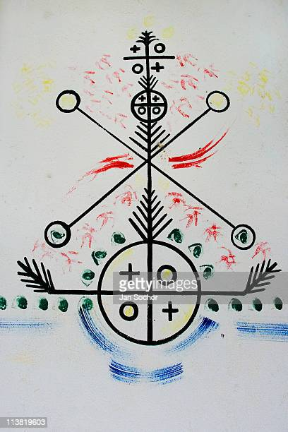 A mythological symbol from the AfroCuban religious tradition drawn on the wall of the African Culture Heritage Centre on August 04 2009 in Santiago...