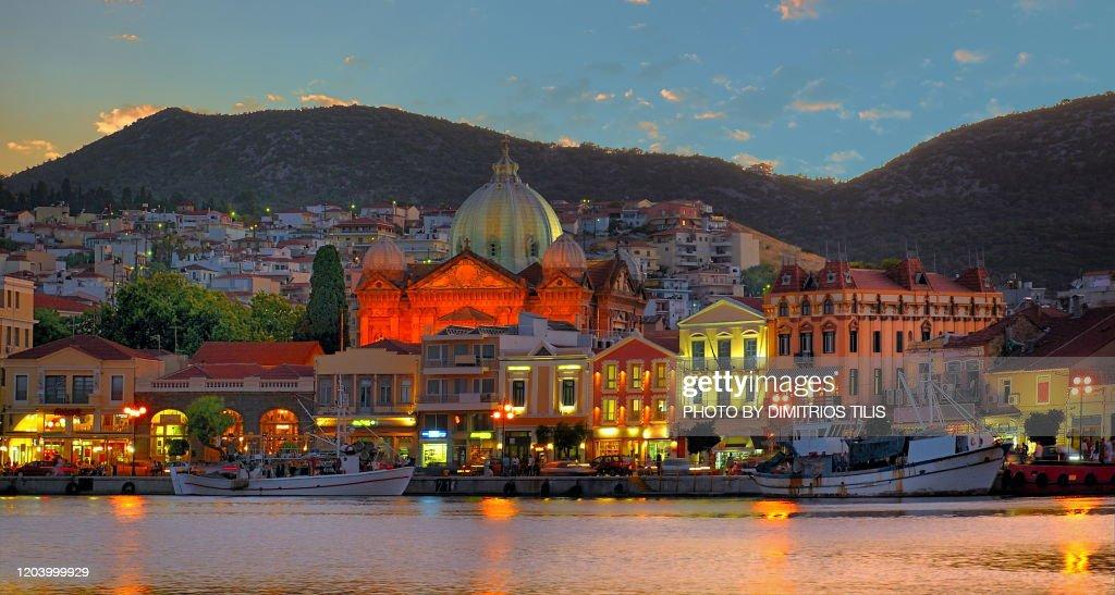 Mytilene's port at daybreak : Stock Photo