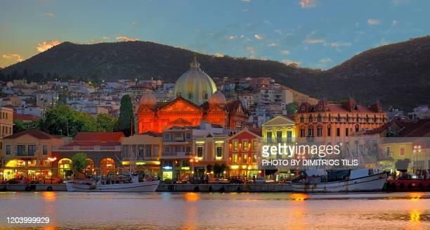 mytilene's port at daybreak - dimitrios tilis stock pictures, royalty-free photos & images