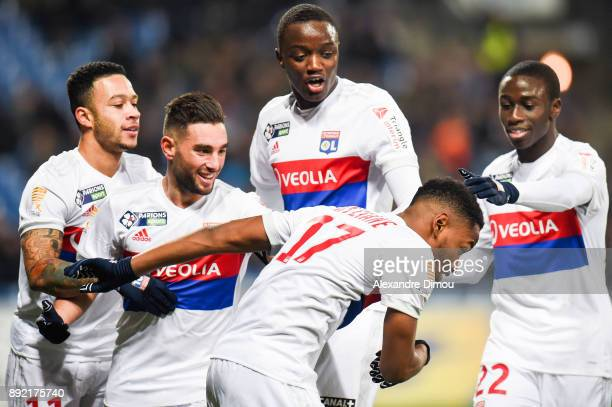 Myziane Maolida celebrates his goal during the french League Cup match Round of 16 between Montpellier and Lyon on December 13 2017 in Montpellier...
