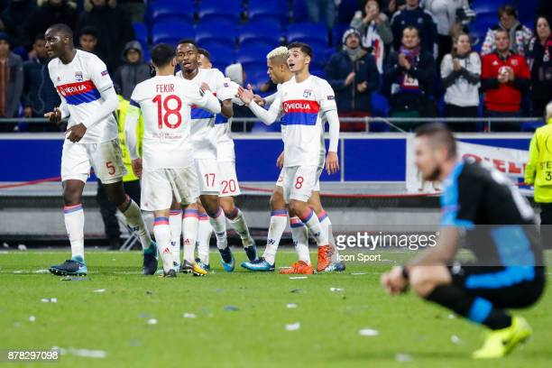 Myziane Maolida of Lyon and Nabil Fekir of Lyon and Houssem Aouar of Lyon celebrate during europa league match between Olympique Lyonnais and Apollon...