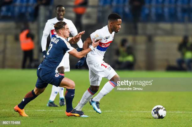 Myziane Maolida of Lyon and Ruben Aguilar of Montpellier during the french League Cup match Round of 16 between Montpellier and Lyon on December 13...