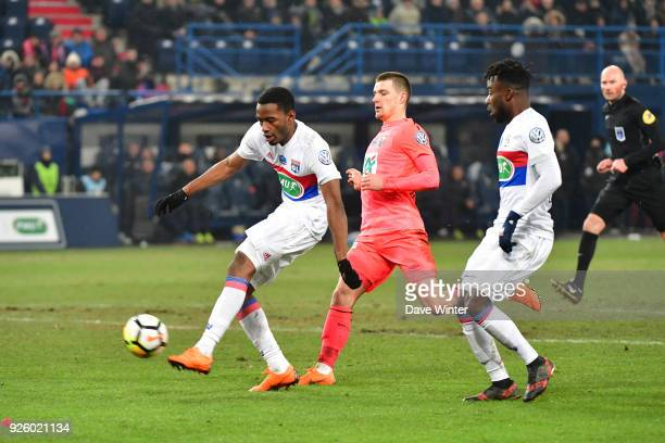 Myziane Maolida of Lyon breaks through but shoots wide during the French Cup match between Caen and Lyon at Stade Michel D'Ornano on March 1 2018 in...