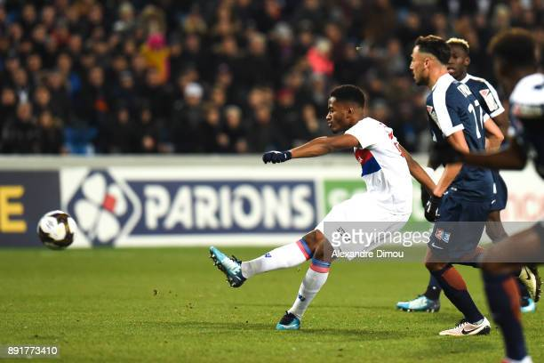 Myziane Maolida of Lyon scores the first Goal during the french League Cup match Round of 16 between Montpellier and Lyon on December 13 2017 in...