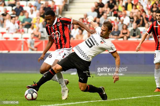 Myziane Maolida of Nice and Damien Da Silva of Rennes during the French Ligue 1 match between OGC Nice v Stade Rennais on September 14 2018 in Nice...