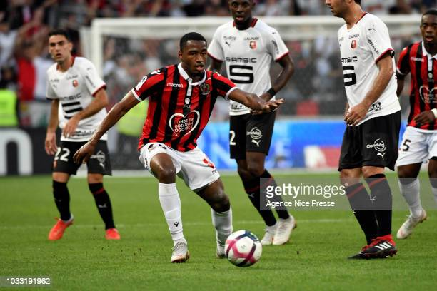 Myziane Maolida of Nice during the French Ligue 1 match between OGC Nice v Stade Rennais on September 14 2018 in Nice France