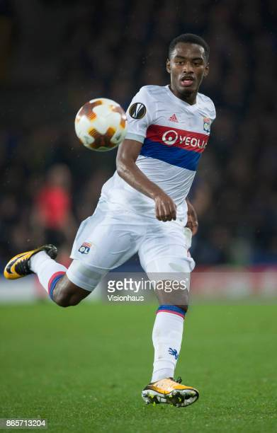 Myziane Maolida of Olympique Lyon in action during the UEFA Europa League group E match between Everton FC and Olympique Lyon at Goodison Park on...