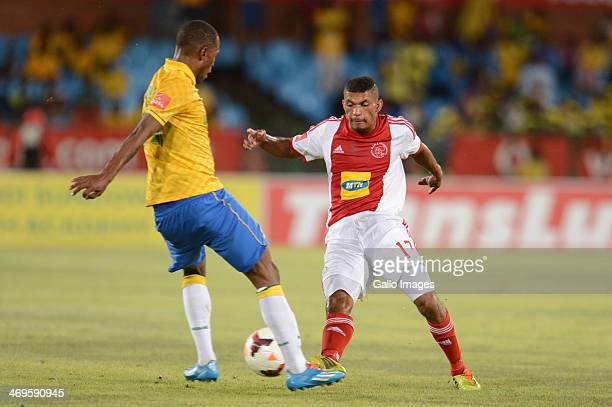 Mzikayise Mashaba of Mamelodi Sundowns and Toriq Losper of Ajax Cape Town during the Absa Premiership match between Mamelodi Sundowns and Ajax Cape...