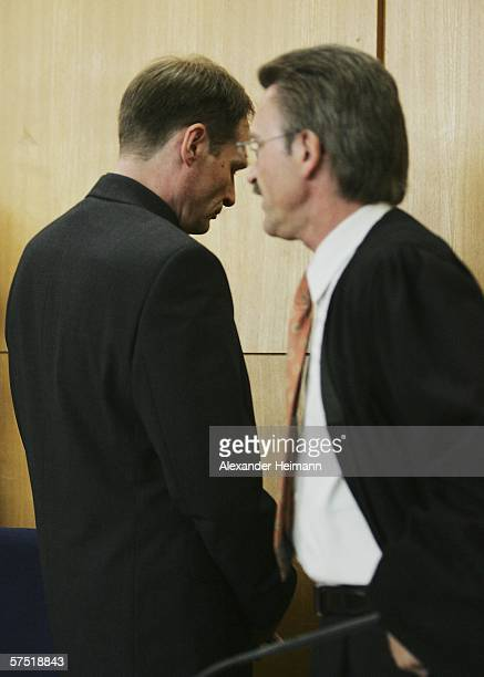 n bGermany's selfconfessed cannibal Armin Meiwes enters accompanied by his lawyer Joachim Bremer the courtroom for his retrial for murder on 03 May...