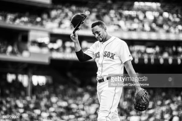 'n Boston Red Sox shortstop Xander Bogaerts looks on during the game against the New York Yankees at Fenway Park on September 17 2016 in Boston...
