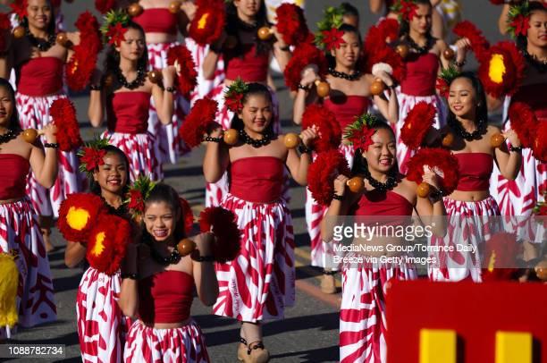 Na Koa Ali`i Hawai`i AllState Marching Band perform during the 2019 Rose Parade in Pasadena on Tuesday Jan 1 2019