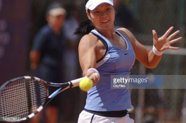 Na Li in action against Katerina Bohmova during their second round match in the 2006 Estoril Open in Estoril Portugal on May 4 2006
