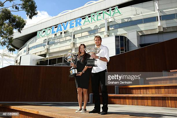 Na Li of China and Stan Wawrinka of Switzerland pose with the Daphne Akhurst Memorial Cup and the Norman Brookes Challenge Cup prior to the 2015...