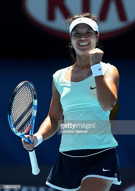 Na Li of China celebrates winning her fourth round match against Victoria Azarenka of Belarus during day seven of the 2011 Australian Open at...