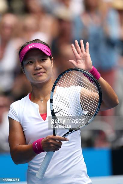 Na Li of China celebrates winning her fourth round match against Ekaterina Makarova of Russia during day seven of the 2014 Australian Open at...