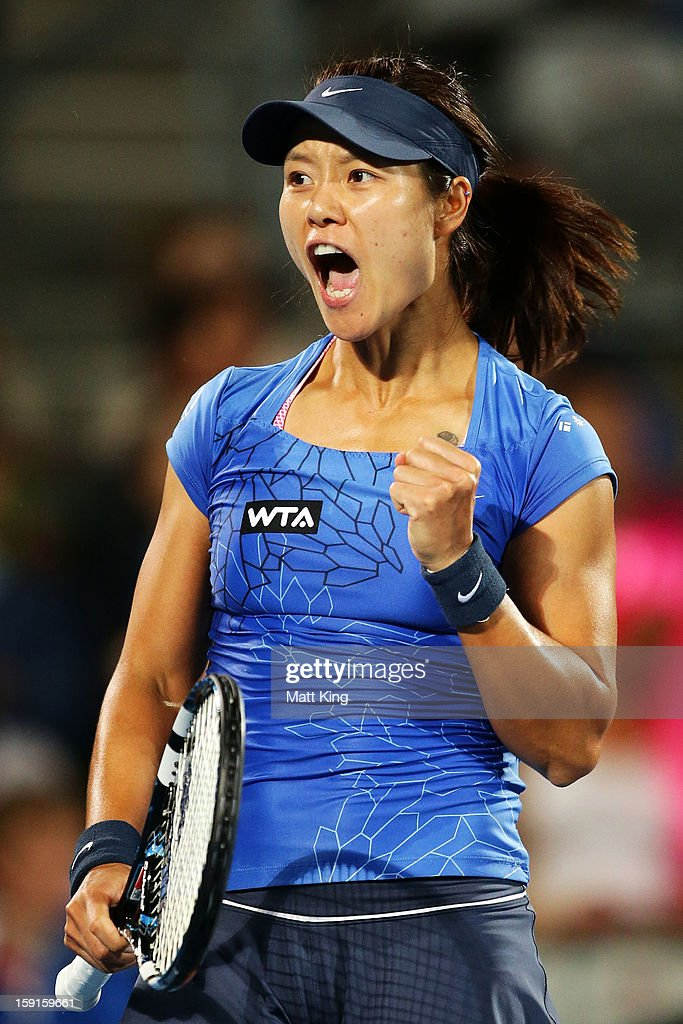 Na Li of China celebrates winning the second set in her quarter final match against Madison Keys of USA during day four of the Sydney International at Sydney Olympic Park Tennis Centre on January 9, 2013 in Sydney, Australia.