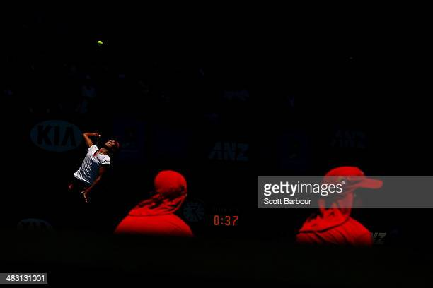 Na Li of China serves in her third round match against Lucie Safarova of the Czech Republic during day five of the 2014 Australian Open at Melbourne...