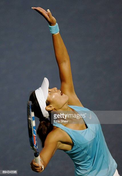 Na Li of China serves to Serena Williams during their match at the Bank of the West Classic Day Two at Stanford University on July 28 2009 in...